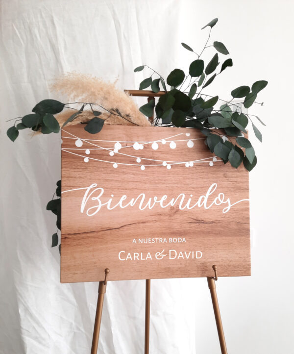 Cartel boda madera party - Bienvenidos